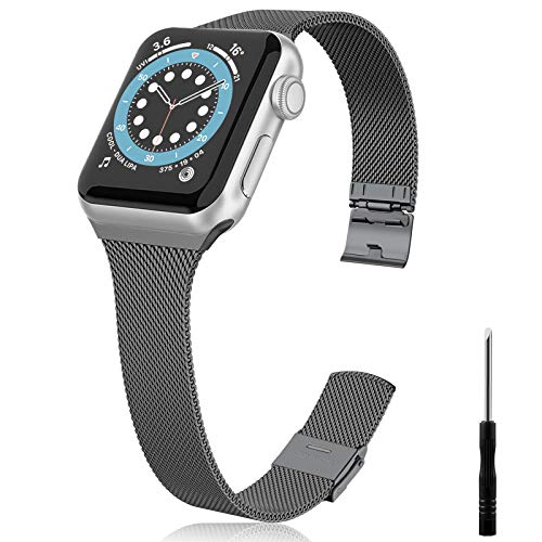 Vcegari Metal Band Compatible with Apple Watch 38mm 40mm Women Men, Slim Narrow Stainless Steel Replacement Wristband Ajustable Strap for iWatch SE & Series 6 5 4 3 2 1, Space Gray