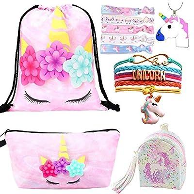 10 Paquete Lindo Unicornio Mochila con cordón/Maquillaje/PU Monedero Bolsos de Embrague/Collar de Cadena de aleación/Unicornios para el Cabello para niñas (Style 5)