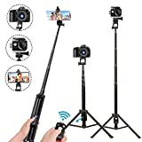 Smiledrive Monopod Selfie Stick Tripod 54' Extendable Stand with Wireless Bluetooth Clicker for Smart Phones & Action Cameras