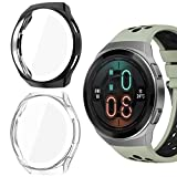 Jvchengxi Custodia Compatibile con Huawei Watch GT 2e Proteggi Schermo, [2 Pezzi] Custodia Morbida in TPU Pellicola Protettiva per Huawei Watch GT 2e Smartwatch (Nero/Clear)