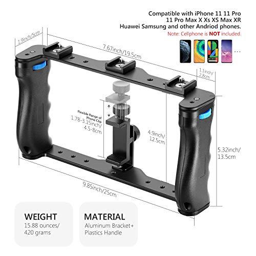 Neewer Aluminium Smartphone Video Rig Filmemacher Cage Telefon Video Stabilisator Griff Stativhalterung für Videofilmer Kompatibel mit iPhone 11 11 Pro 11 Pro Max X Xs Huawei Samsung