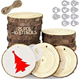 Wood Slice Ornaments 25 Pcs 2.7'-3.1' Unfinished Wood Slices for Crafts with 10 Pcs Christmas Stencils for Rustic Crafts, Natural Hole Wooden Ornament Kit by Woozy
