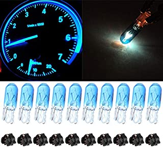 cciyu Blue Car T5 Halogen Lgiht Bulbs 70 2721 Instrument Panel Gauge Dash Light with Twist Lock Sockets