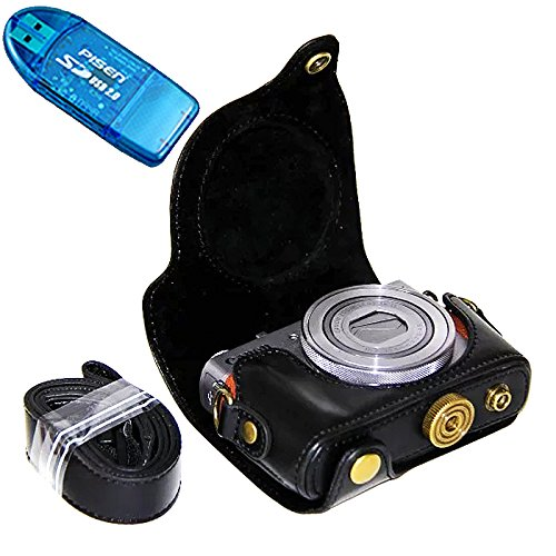 First2savvv XJPT-G9X-01 Black full body Precise Fit PU leather digital camera case bag cover with should strap for Canon PowerShot G9X G9 X + SD card reader
