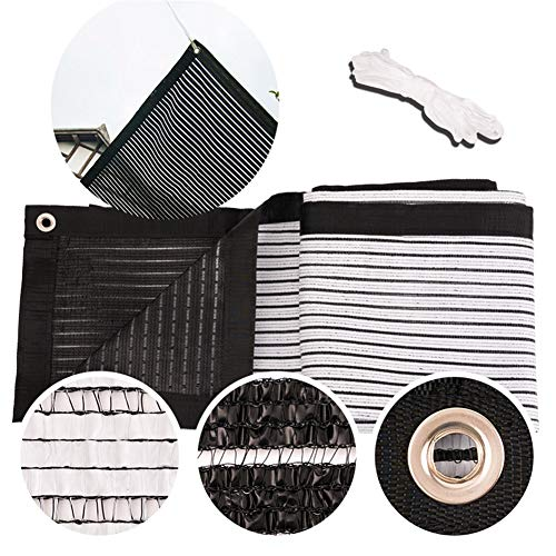 Black White Sided Shade Cloth Sun Awning Ventilation Breathable Shade Fabric Thicken Shade Sail For Outdoor Balcony Garden Net Multiple Sizes With Free Pull Rope