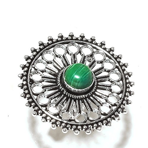 Green MALACHITE! Exotic RING For Girls! Matching, Silver Plated! HANDMADE Jewelry Art! All Variety Store Ring Size 5.5 US (Adjustable)