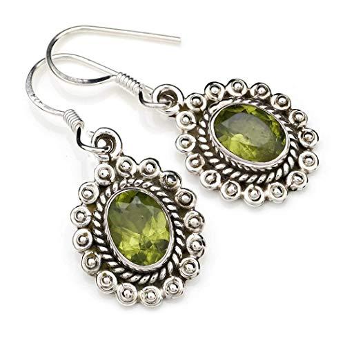 Ohrringe Ohrhänger Silber 925 Sterlingsilber Peridot grün Stein (Nr: MOH 116-59)