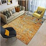 GLF Modern Designer Rugs Living Room Carpet Soft Touch Anti-Skid Large Home Floor Area Rug,Orange Yellow Gray 80x160CM