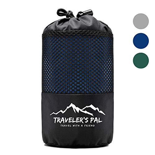 Traveler's Pal Hüttenschlafsack aus 100% Baumwolle - Schlafsack mit Reißverschluss an Seite und Fußende - Leichter und dünner Inlett Sommerschlafsack atmungsaktiv und hautfreundlich Indigoblau