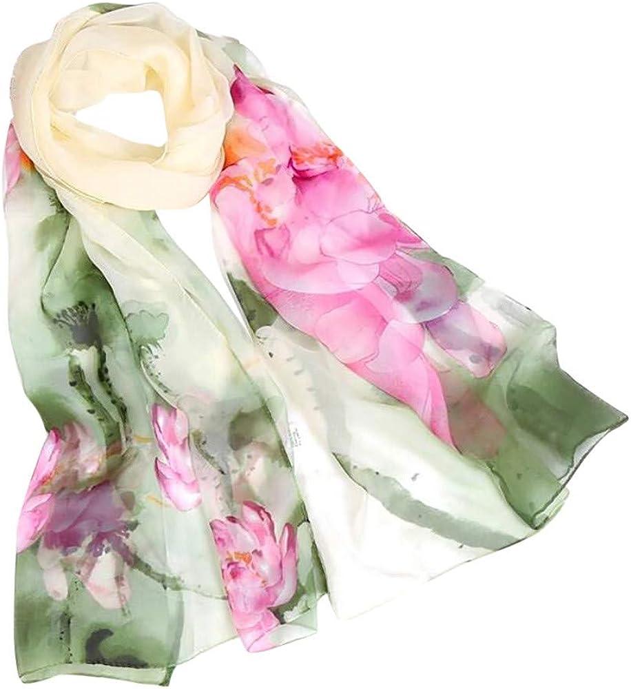 Ladies Fashion Scarf Soft Lotus Print Scarves Chinese Ink Shawl Long Lightweight Wrap Autumn Winter Drfoytg (H)