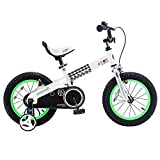 RoyalBaby Boys Girls Kids Bike 12 Inch Buttons Bicycles with Training Wheels Child Bicycle Green
