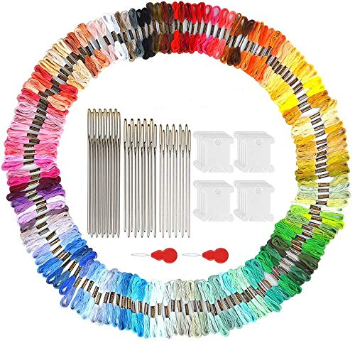 GEEDIAR Embroidery Floss 150 Skeins Per Pack Rainbow Color Embroidery Thread,Friendship Bracelets Floss,Craft Floss,Cross Stitch Thread with 30 Embroidery Needles,20 Winding Devices and 2 Threader