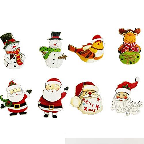 Wooden Christmas Ornaments Refrigerator Magnets Set, Christmas Fridge Magnet Santa Snowman Reindeer Magnets Xmas Holiday Fridge Kitchen Metal Door Decoration (Set of 8)