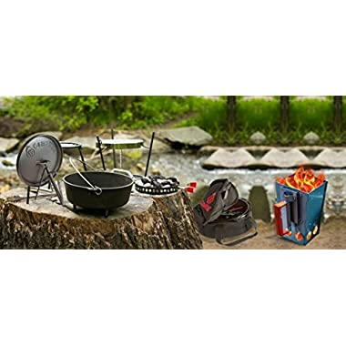 CampMaid Complete Outdoor Cookout Grill Set with Charcoal Chimney - 8 Piece Combo