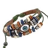 Schmuckliebhaber Perlen Augen Rindsleder Armband verstellbar