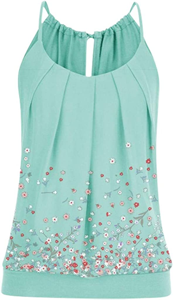 NREALY Tops Womens Summer Loose O Neck Pleated Cami Tank Tops Floral Print Banded Waist Top