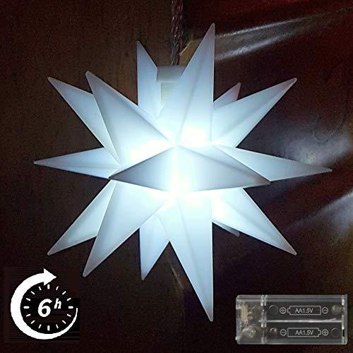 Weihnachtsstern Stern Kalt weiß 11,5cm LED mit Timer und Batterie Innenstern 3D Adventsstern Stern Leuchtstern