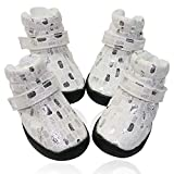 GLE2016 Dog Winter Shoes, Dog Boots Sports Non-Slip Pet Dog Anti-Slip Sole, Water Resistant Boots for Dogs 2 Pairs (#4, White)