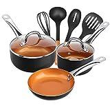 SHINEURI 9 Pieces Nonstick Copper Cookware Pans and Pots Set - 8 inch Frying Pan, 1.5 qt Saucepan...