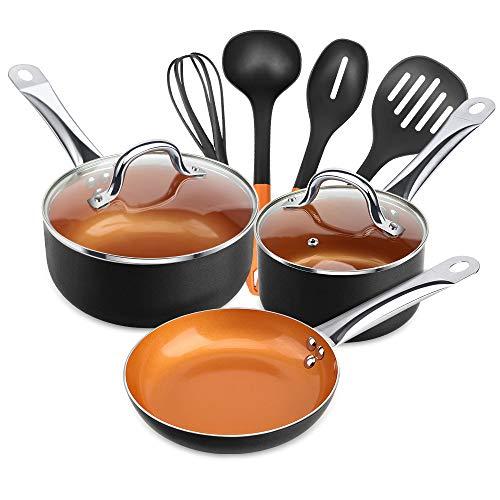 SHINEURI 9 Pieces Copper Nonstick Pans Pots Ceramic Cookware Set - 8inch Fry Pan, 1.5qt Saucepan with Lid, 2.5qt Saute Pan with Lid & 4 Pieces Utensils for Induction, Gas, Electric & Stovetops (Black)