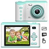 PTHTECHUS Kinder Kamera, Kinderkamera Digital Fotokamera Selfie, 2.8 Zoll Touchscreen Digitalkamera 8M Pixel, vorderes und hinteres Objektiv, mit Blitzlicht, Fun Junge Mädchen Kamera 16G SD-Karte