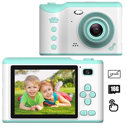 PTHTECHUS Digitale Fotocamera Bambini con 16G TF Carta, 1080P HD Funzione Video, 4400 immagini 80min Video, Funzione Selfie, Mini Ricaricabile Fotocamera Digitale, Regali per Ragazzo Ragazza (Blu)