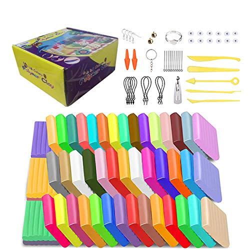 Luclay Knete Soft Set, Polymer Clay, 48 Blöcke DIY farbige Modelliermasse,Soft Craft Clay Set mit Modellierwerkzeugen und Zubehör in Aufbewahrungsbox, Kinder