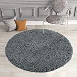 MAYSHINE Round Bath Mat Non-Slip Chenille 3 Feet Shaggy Bathroom Rugs Extra Soft and Absorbent Perfect Plush Carpet for Living Room Bedroom, Machine Wash/Dry- Gray