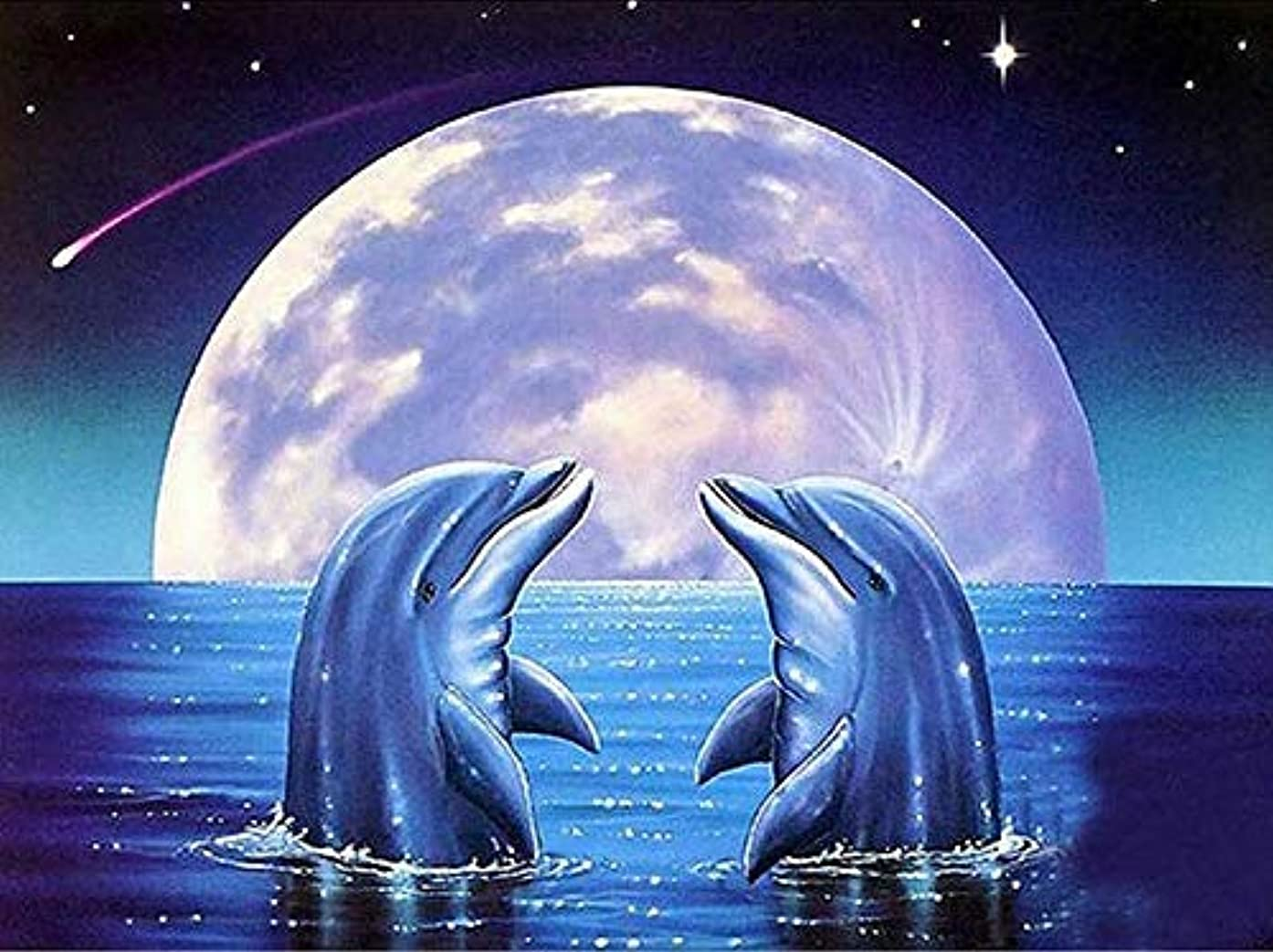 BYAMD 5d Diamond Painting Kits for Adults Kids Dolphin Full Drill Diamond dotz for Home Wall Decor 16x12inch(Canvas Size)