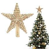 BELLE VOUS Adorno Navidad Copa del Árbol 27 x 25 cm Estrella de Navidad Hecha a Mano de Paja...