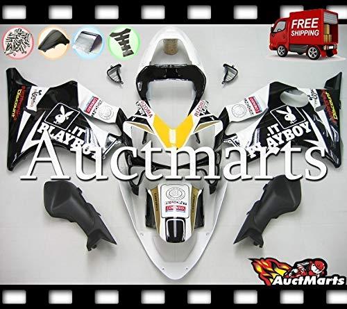 Auctmarts Injection Fairing Kit ABS Plastics Bodywork with FREE Bolt Kit for Honda CBR600F4i CBR 600 F4i 2001 2002 2003 White Black Yellow Playboy (P/N:1c16)