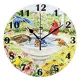 Pfrewn Spring Humming Cardinal Bird Flowers Wall Clock Silent Non Ticking Sunflower Daisy Animal Clocks Battery Operated Vintage Desk Clock 10 Inch Quartz Analog Quiet Bedroom Living Room Home Decor