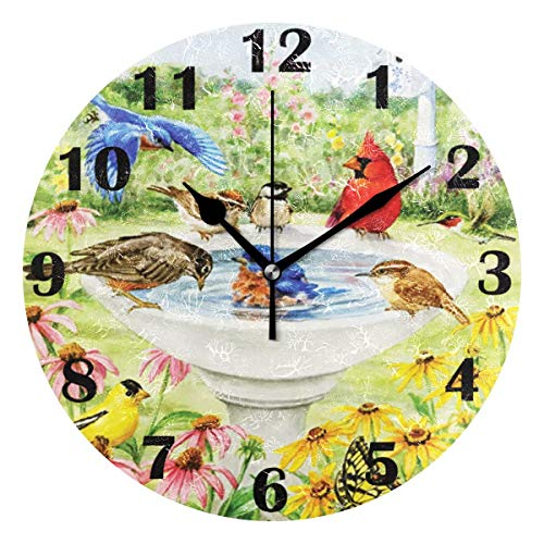 Pfrewn Spring Humming Cardinal Bird Flowers Wall Clock Silent Non Ticking Sunflower Daisy Animal Clocks Battery Operated Vintage Desk Clock 10 Inch Quartz Analog Quiet Bedroom Living Room Home Decor