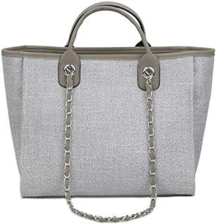 Large Shoulder Bag Women Travel Bags Leather Pu canvas Bag Female Luxury Handbags,Gray,S
