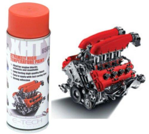 E-Tech XHT Sprühfarbe für extrem hohe Temperatur für Bremssattel oder Motorblock, 650 °C, Rot