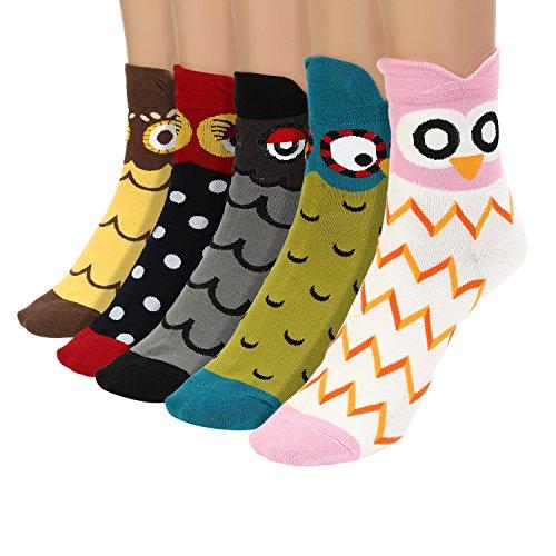 UTOVME Damen Maedchen Stricken Socken Baumwolle Cartoon Eule Muster Punkte Socken 5 Paare Mehrfarbig 6159