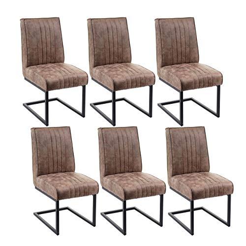 Mendler 6X Esszimmerstuhl HWC-G57, Küchenstuhl Freischwinger Stuhl, Federkern Stoff/Textil Wildleder-Optik ~ Vintage braun