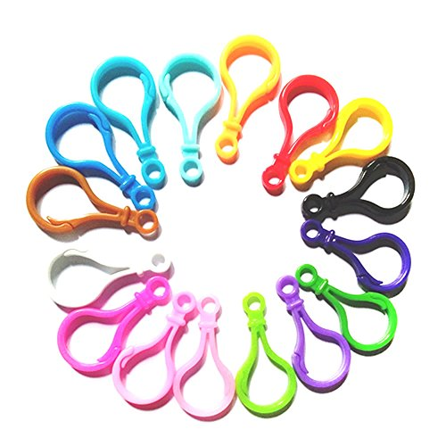 Hard Plastic Clips Lobster Claw Hooks - 100 pcs Mixed Plastic Backpack Clasp Hook for Key Chain, Ring Keyring, Toy, Chain Clasp