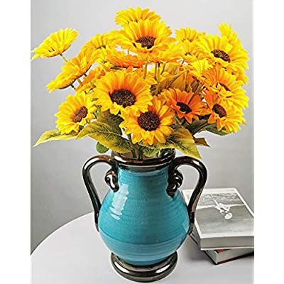 5 Bunches Artificial Sunflower Bouquet Silk Sunflowers Floral