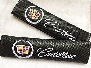 BENZEE 2pcs Cadillac Carbon Fiber Car Seat Belt Shoulders Pad Truck Cover For ATS CTS EXT