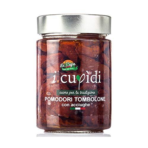 Pomodori tombolone piccanti con acciughe in olio extravergine di oliva 300 grammi, I Cupidi