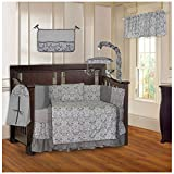 BabyFad Damask Gray 10 Piece Baby Crib Bedding Set