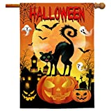 Bonsai Tree Halloween Flags 28x40 Double Sided, Jack O Lantern Pumpkins Decorative Garden Flag, Spooky Black Cat Bats Castle Yard Flags with Premium Rubber Stopper and Anti-Wind Clip