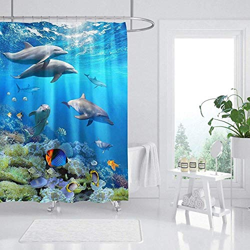 votgl Underwater World Animal Dolphin Background Theme Pattern Background 3D Printing Shower Curtain Waterproof Polyester Material 71x71 Inch 12 Hooks Home Decoration Bathroom Accessories
