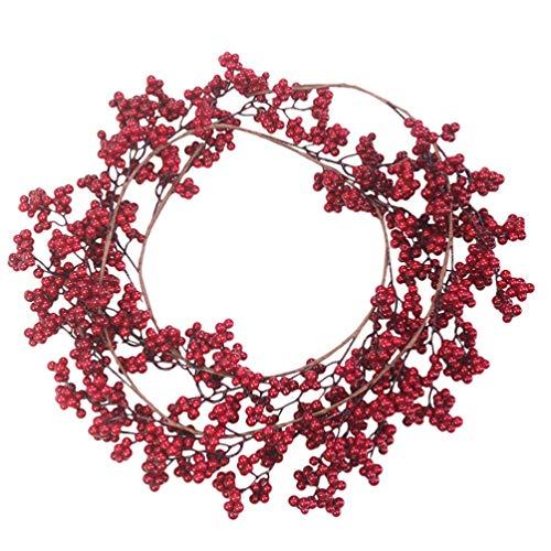 SOIMISS Rote Beeren Kranz Künstlicher Türkranz Weihnachten Kranz Girlande Deko Kranz Adventskranz für Xmas Weihnachten Party Tür Wand Hängenden Garland Ornamente Weihnachtsschmuck (Rote Beeren Kranz)