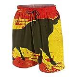 SUHOM De Los Hombres Casual Pantalones Cortos,Toro español sobre una Bandera de España Grunged,Secado Rápido Traje de Baño Playa Ropa de Deporte con Forro de Malla