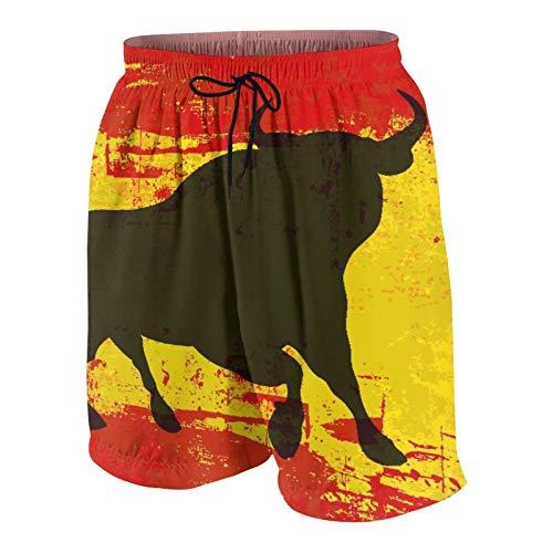 Popsastaresa Herren Beiläufig Boardshorts,Spanischer Stier über Einer verschmutzten Flagge von Spanien,Schnelltrocknend Badehose Strandkleidung Sportbekleidung mit Mesh-Futter