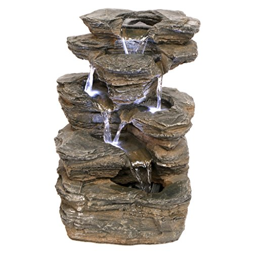 Water Fountain with LED Light - Devil's Thumb Falls Garden Decor Rock Fountain - Outdoor Water Feature