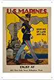 World War I One Tin Sign Metal Poster (reproduction) of U.S. Marine Corps - Service on land and sea