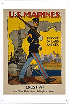 World War I One Tin Sign Metal Poster  reproduction  of U.S Marine Corps - Service on land and sea